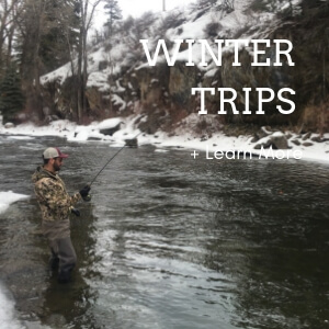A man fishing in winter in Aspen.